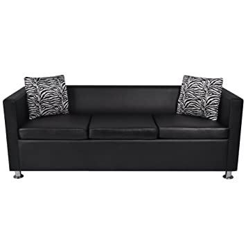 Amazon Com Festnight Faxu Leather 3 Seater Upholstered Sofa With