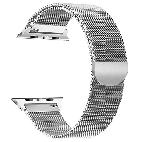 yamen Compatible for Apple Watch Band 42mm 44mm Milanese Loop for iwatch Band Series 2 Series 3 Series 4 Silver