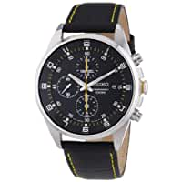 Seiko Men's SNDC89P2 Leather Synthetic Analog with Black Dial Watch