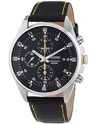 Seiko - SNDC89P2 - Mens Watch - Quartz Chronograph - Black Dial - Black Leather Strap