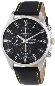 Seiko SNDC89P2 - Reloj cronógrafo de cuarzo para hombre con correa de acero inoxidable, color negro