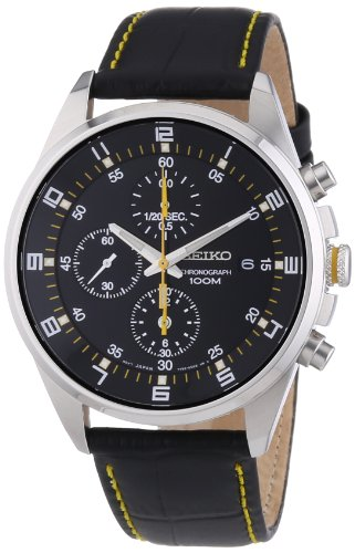 Seiko - SNDC89P2 - Men's Watch - Quartz Chronograph - Black Dial - Black Leather Strap Automatic World Time Mens Watch
