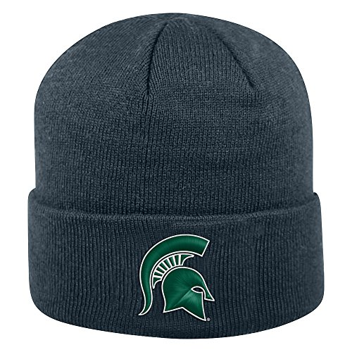 White Elite 1 Fit Hat - Top of the World Michigan State Spartans Men's Winter Knit Hat Icon, Charcoal, One Fit