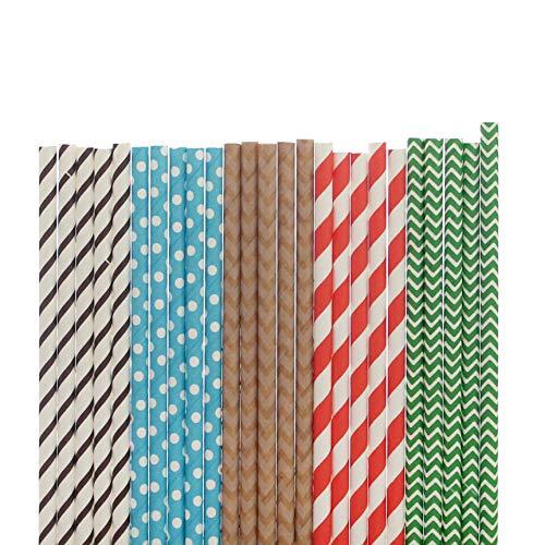 - Designer Paper Straws (brown narrow stripe, blue with medium white dot, kraft chevron, tangerine stripe, green stripe, 25)