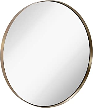 Hamilton Hills Contemporary Brushed Metal Gold Wall Mirror | Glass Panel Gold Framed Rounded Circle Deep Set Design (35