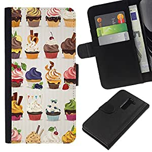 Planetar® Modelo colorido cuero carpeta tirón caso cubierta piel Holster Funda protección LG G2 D800 ( Cupcake Bakery Sweets Dessert Cherry )