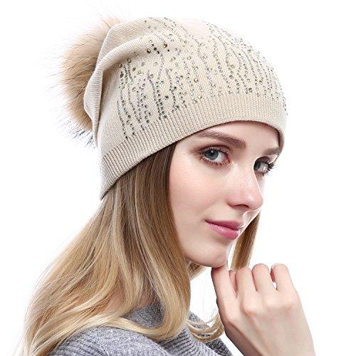 e853aa8a8ba08 Women Wool Beanie - Real Raccoon Fur Pompom Hat Winter Fashion Knit  Cashmere Blend Hats With Rhinestones (Beige) - Buy Online in Oman.