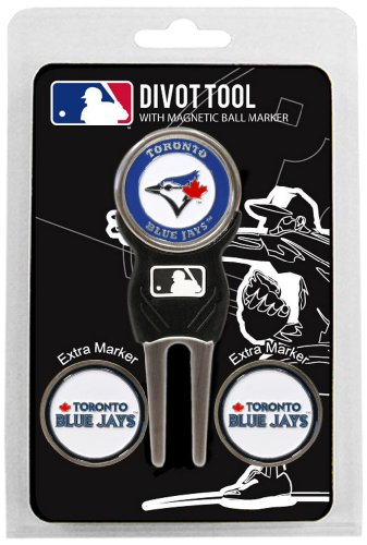 Team Golf MLB Toronto Blue Jays Divot Tool with 3 Golf Ball Markers Pack, Markers are Removable Magnetic Double-Sided Enamel