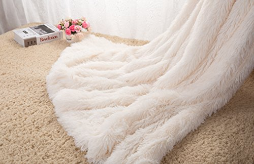 HOMIGOO Super Soft Shaggy Faux Fur Long Hair Throw Blanket Cozy Elegant Decorative Blanket Ivory