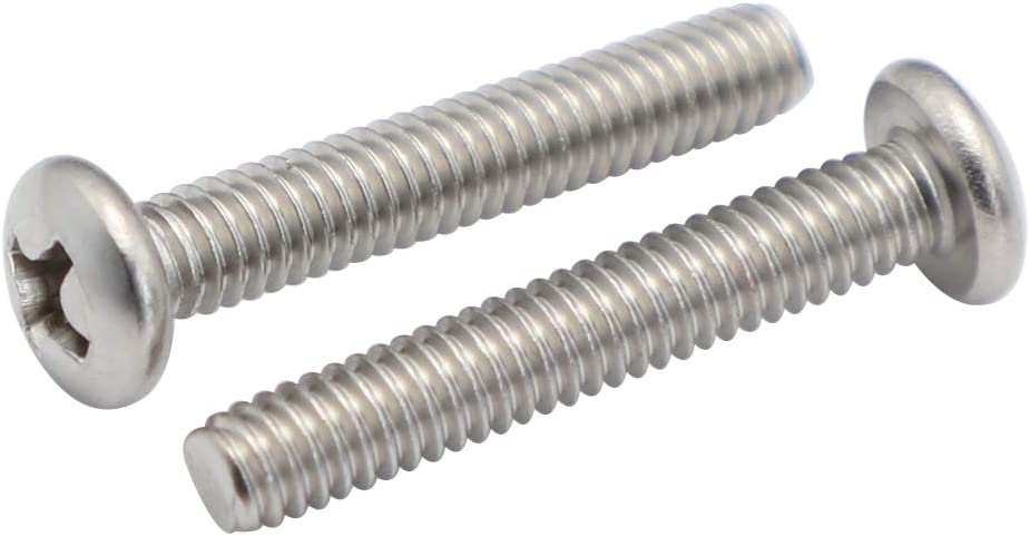 """8-32 x 1/2"""" (1/4"""" to 3"""" Available) Pan Head Machine Screws, Full Thread, Phillips Drive, Stainless Steel 18-8 (304), Machine Thread, Pack of 100"""