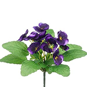 "10"" Silk Pansy Flower Bush -Purple (Pack of 36) 41"