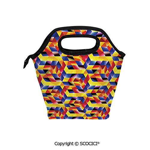 Contrast Straw Tote - Lightweight Portable Picnic tote lunch Bags Complex Abstract Forms Contrast Modern Design Mosaic Display lunch bag for Employee student Worker.