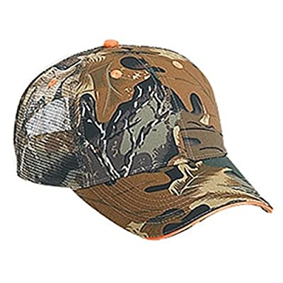 New Camouflage Camo Orange Trim Trucker Mesh Hat Cap Adult Sz Velcro Adjustable Curved Bill from Otto