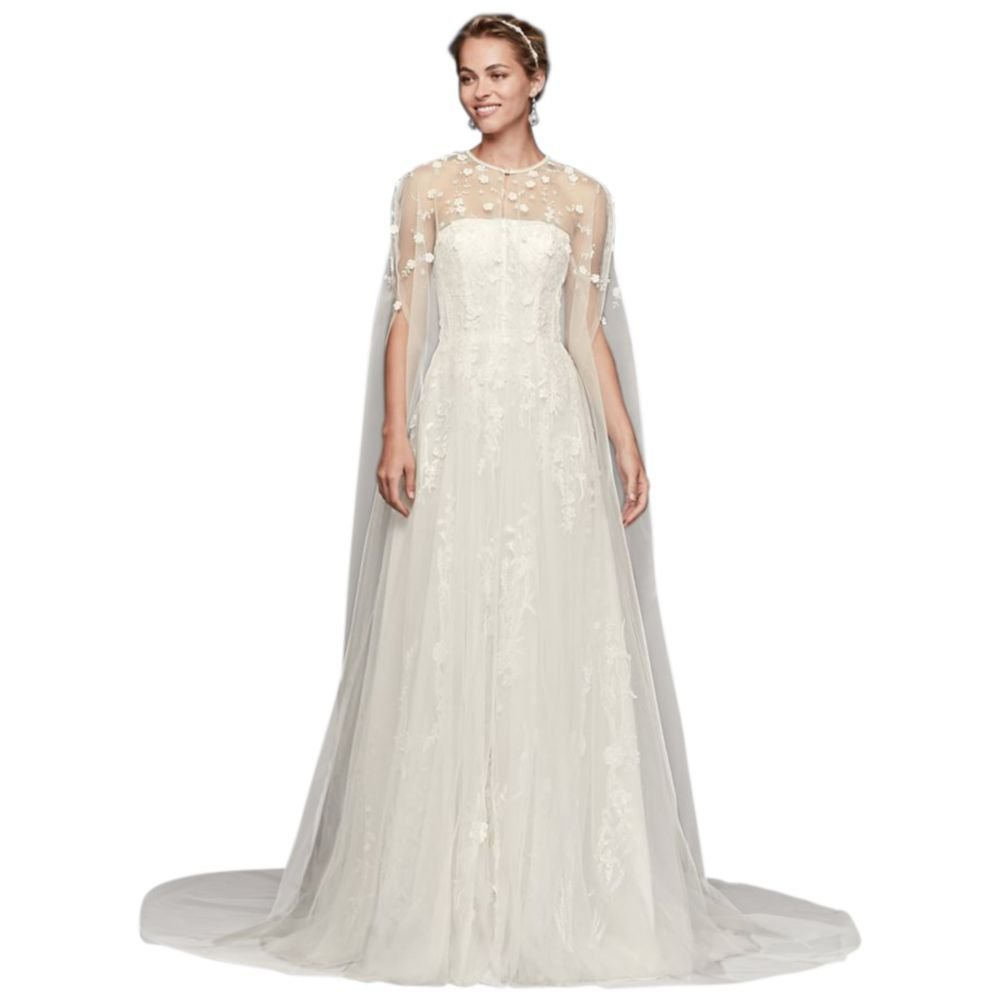 David's Bridal Long Tulle Cape With 3D Flowers Style OW2103, Ivory, L