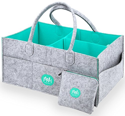 XL Baby Diaper Caddy Organizer with FREE Pouch - Nursery Organizing Basket For Baby Changing Essentials - Baby Shower Gift Idea and Toy Storage For Boys And Girls | MARI New York by MARI New York