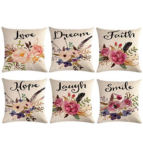 Watercolor Flowers Throw Pillow Covers Floral Leaves Cushion Covers Love-Laguh-Hope-Dream-Faith-Smile Home Decorative Pillowcase 18