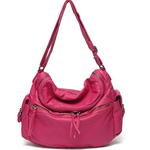 [Mlife Soft Washed Leather Women Shoulder Bag (Pink)] (Pink Soft Leather)