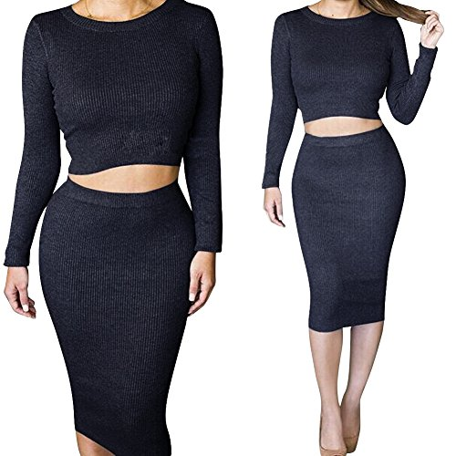 Pieces Tight Top Bodycon Skirt Women's Two Dora Knit Dress Black Crop Outfit Midi Bridal 6zqp1wx