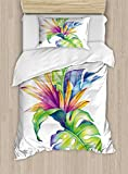 Ambesonne Plant Duvet Cover Set, Tropical Leaves and Monstera with Abstract Color Scheme Hawaiian Floral Elements, Decorative 2 Piece Bedding Set with 1 Pillow Sham, Twin Size, White Green