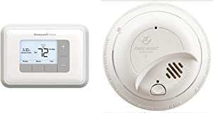 Honeywell Home Home RTH6360D1002 Programmable Thermostat, 5-2 Schedule, 1-Pack, White & First Alert BRK9120b6CP Hardwired Smoke Detector with Backup Battery
