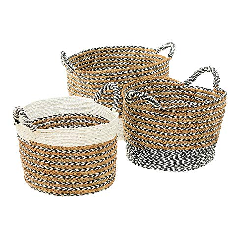 - Cape Cod Seagrass Baskets, Set of 3, Chunky Weave, Herringbone Details, Rustic White, Dark Gray, Chubby Barrel Bottoms, Carry Handles, Natural Grasses, Mixed Materials, 23, 19, and 17 Inches