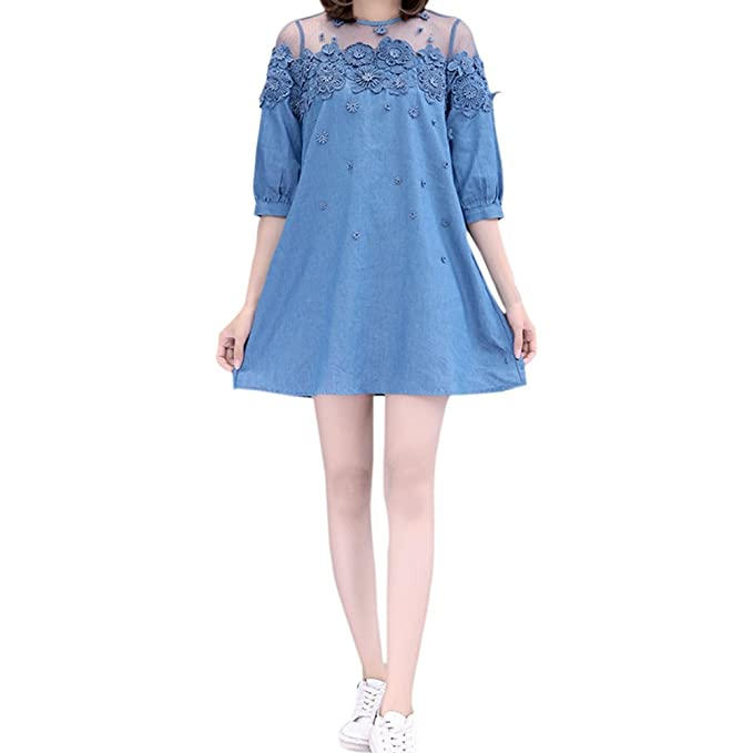 673ae53939e Image Unavailable. Image not available for. Color  Jancure New Arrival Lace  Bead Patchwork Summer Women Denim Dresses Half Sleeves Loose A Line Dresses