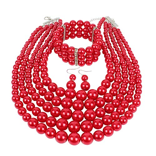 - KOSMOS-LI Multi Layer Pearl Strand Necklace Bracelet and Earring Faux Red Pearl Jewelry Set
