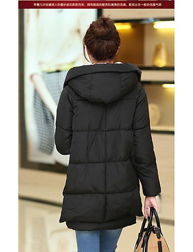 color YRF Sleeve Black Simple Long Coat XL Hooded Solid Multi Women's BLACK Padded qwBHIw