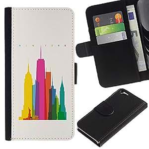A-type (Ciudad colorida Art Rascacielos Poli Arte) Colorida Impresión Funda Cuero Monedero Caja Bolsa Cubierta Caja Piel Card Slots Para Apple (4.7 inches!!!) iPhone 6 / 6S