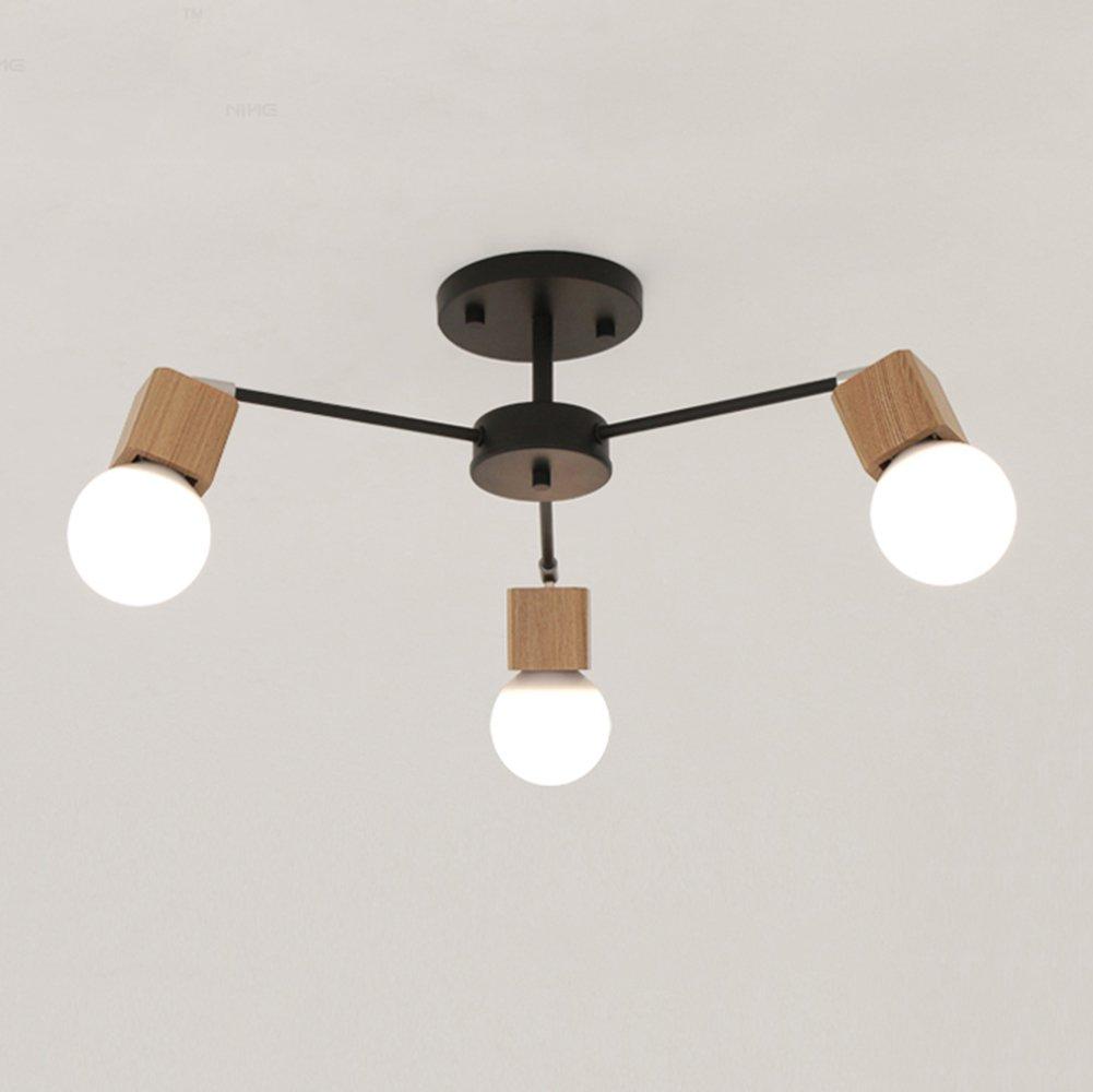 Loft Modern Deckenleuchte Elegant Einfach Deckenlampen Schwarz Weiß Metall Holz Nordisch Kreative Persönlichkeit E27×3 Dekoration Wohnzimmer Esszimmer Schlafzimmer (Enthält keine Lichtquelle) (Schwarz)