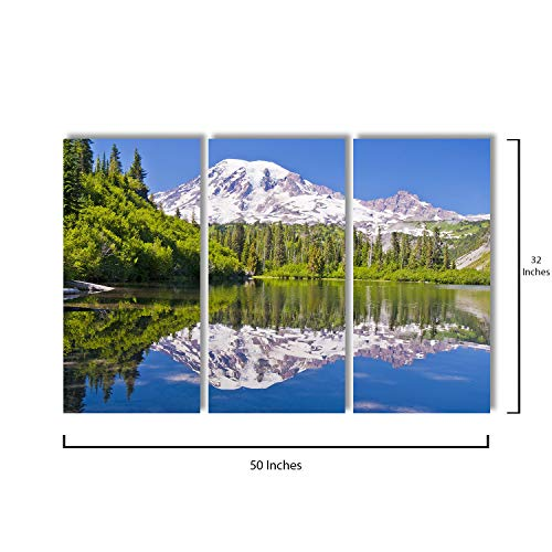 3 Piece Canvas Wall Art - Reflection of MT Rainier from Bench Lake - Modern Home Decor Stretched and Framed Ready to Hang - 16
