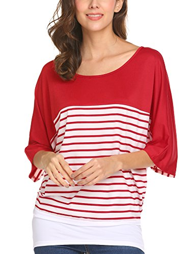 (Finejo Women's Batwing 3/4 Short Sleeve Dolman Striped Tunic Color Block Shirts Blouse Tops Red)