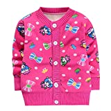 Toddler Long Sleeve Sweaters Infant Baby Boys Girls Cartoon Print Tops Button Cotton Soft Warm Clothes 1-4 Years (Hot Pink, 3 Years)