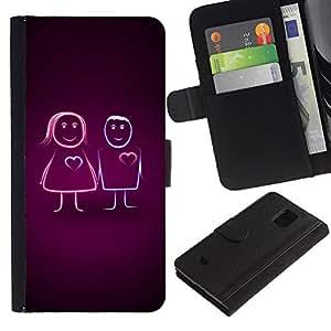 Billetera de Cuero Caso Titular de la tarjeta Carcasa Funda para Samsung Galaxy S5 Mini, SM-G800, NOT S5 REGULAR! / Cute Line Couple / STRONG