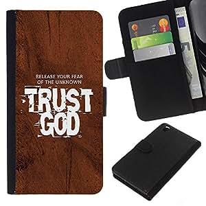 KLONGSHOP // Tirón de la caja Cartera de cuero con ranuras para tarjetas - BIBLIA Release Su miedo a lo desconocido Confía en Dios - HTC DESIRE 816 //