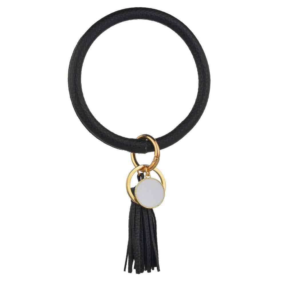 Women Keychain Bracelet Large Circle Wristlet Key Chain Bangle Keyring with Tassels