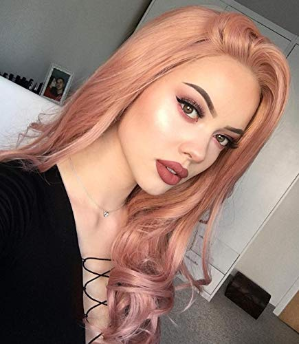 eNilecor Pink Lace Front Wigs,Long Curly Synthetic Color Lace Wig Hair Replacement Wigs for Women 22 Inches with Wig Cap (Pink) ()