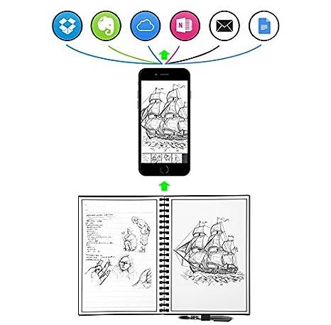 mmrm Inteligente Reutilizable digitalización Notepad electrónico Cuaderno notebuch Everlast Microondas la Nube con lápiz Capacitivo A5 A5 Schwarz: ...