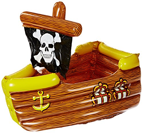Blow Up Halloween Pirate Ship (Inflatable Pirate Ship Cooler (holds apprx 72 12-Oz cans) Party Accessory  (1 count))
