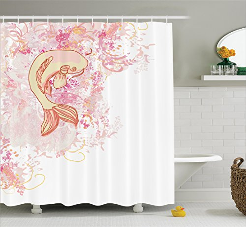 japanese decor shower curtain set by ambesonne asian koi fish on classic reflexive splashed setting love themed exotic zen home decor bathroom accessories