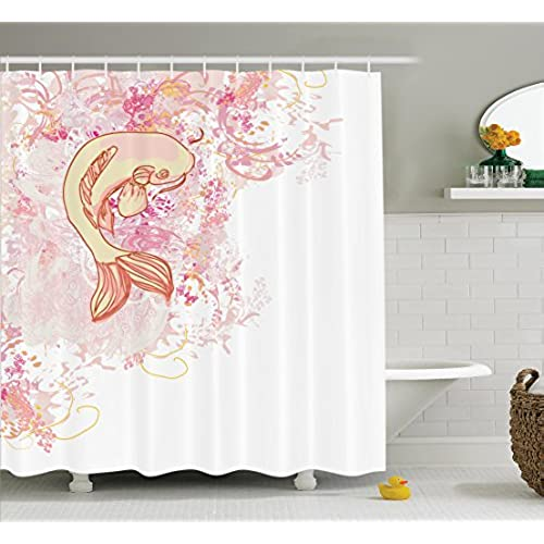 Japanese Decor Shower Curtain Set By Ambesonne, Asian Koi Fish On Classic  Reflexive Splashed Setting Love Themed Exotic Zen Home Decor, Bathroom  Accessories ...