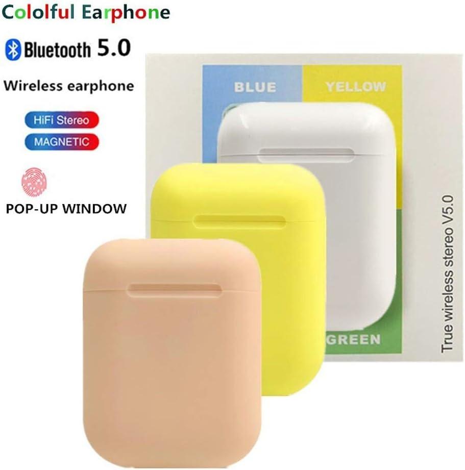 Audífonos inalámbricos i12 con Bluetooth 5.0, cancelación de ruido, con funda de carga, micrófono integrado TWS estéreo, auriculares pk i30 i20 i11 i7s verde