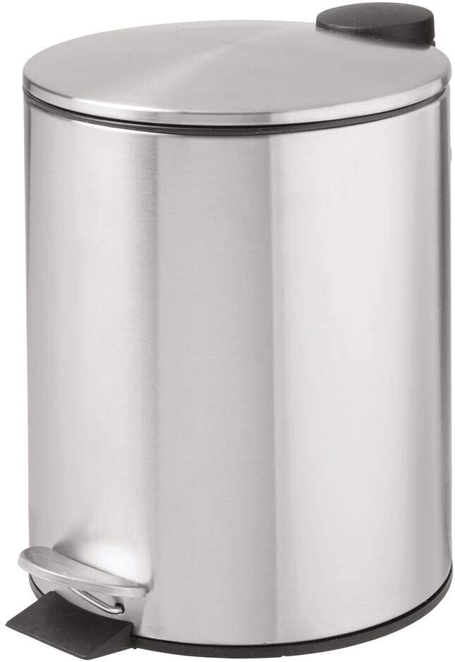 mDesign 1.3 Gallon Round Metal Step Trash Wastebasket, Garbage Container Bin for Bathroom, Powder Room, Bedroom, Kitchen, Craft Room, Office - Removable Liner Bucket - Brushed Stainless Steel