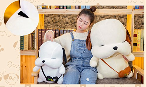 Lovely Embroidery Cuddly Ins Cartoon Cute Puppy Dog Stuffed Animals 3D Plush Lumbar Soft Hugging Figure Bolster Bed Cushion Nursery Home Office Decor Baby Play Toy Sleeping Throw Pillow Gift White by ORGEN HOME (Image #7)