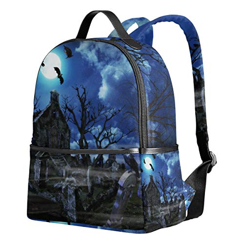 (School Backpack for Teen Boys Girls 3D Halloween Naked Tree Graves Waterproof Students)