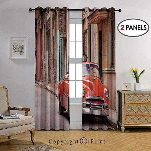 Blackout Bedroom Curtain Thermal Insulated Energy Efficient Home Decoration Car in a Street with Ancient Houses Caribbeans Havana Cuba for Living Room 2 Panels, 38 by 96 Inch,Orange Sand Brown