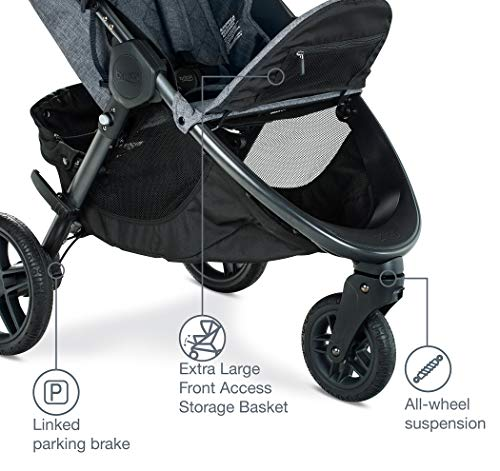 51QouA9EKNL - Britax B-Free Travel System With B-Safe Ultra Infant Car Seat - Birth To 65 Pounds | All Terrain Tires + Adjustable Handlebar + Extra Storage With Front Access + One Hand, Easy Fold, Vibe