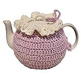 CrossCrown CNC Hand Knitted Tea Cozy with Tea Pot, Ceramic Teapot with Tea Cosy Set, 14.98 oz (Light purple)