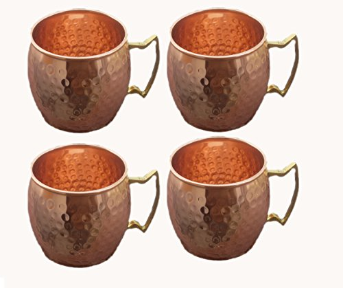 STREET CRAFT Large Pure Copper Mugs Hand Hammered Copper Moscow Mule Mug of 100% Pure Copper Brass Handle Hammered Moscow Mule Mugs Cups Size 24 Ounce Set of 4
