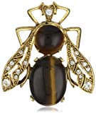 Antiquities Couture Royal Bee Tigers Eye Crystals and Gold Tone Pin